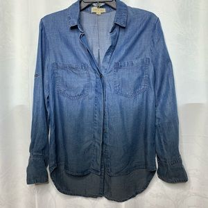 Cloth and stone Ombre chambray dip dye shirt